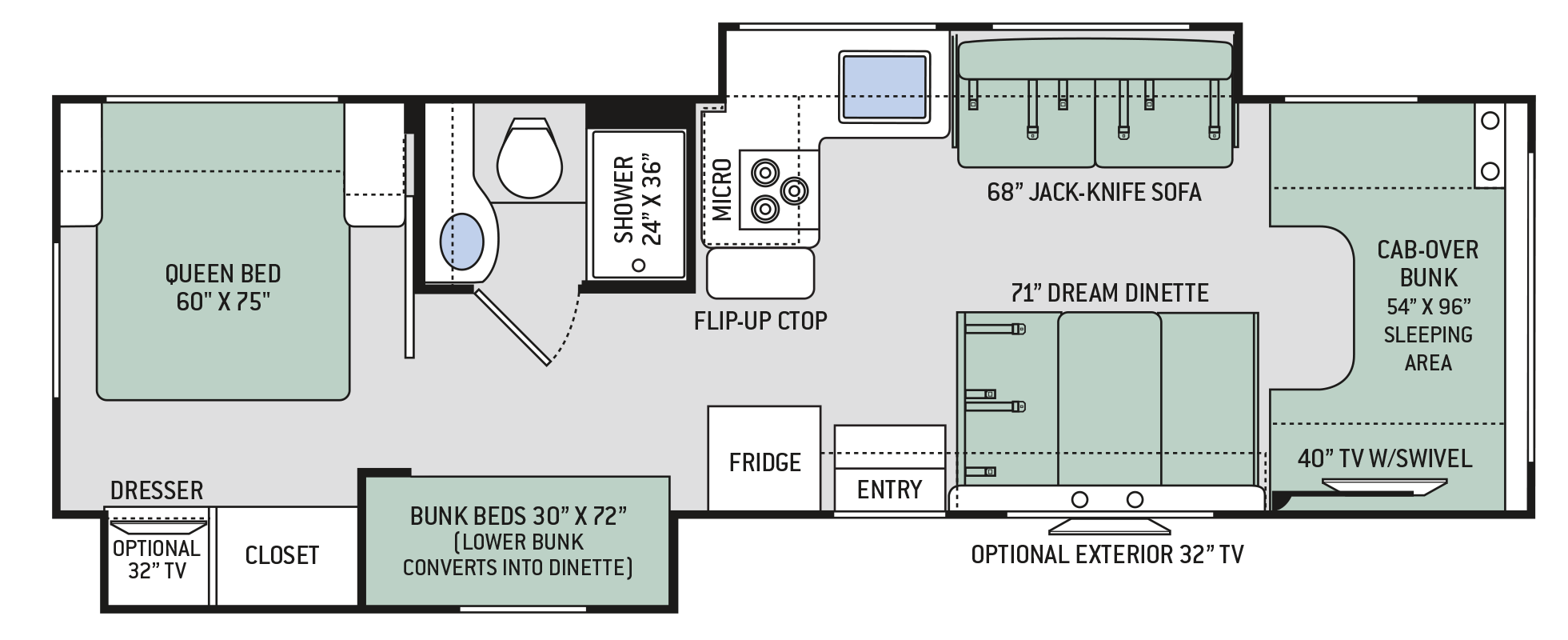 Chateau Class C Motorhomes Floor Plan 30d Thor Motor