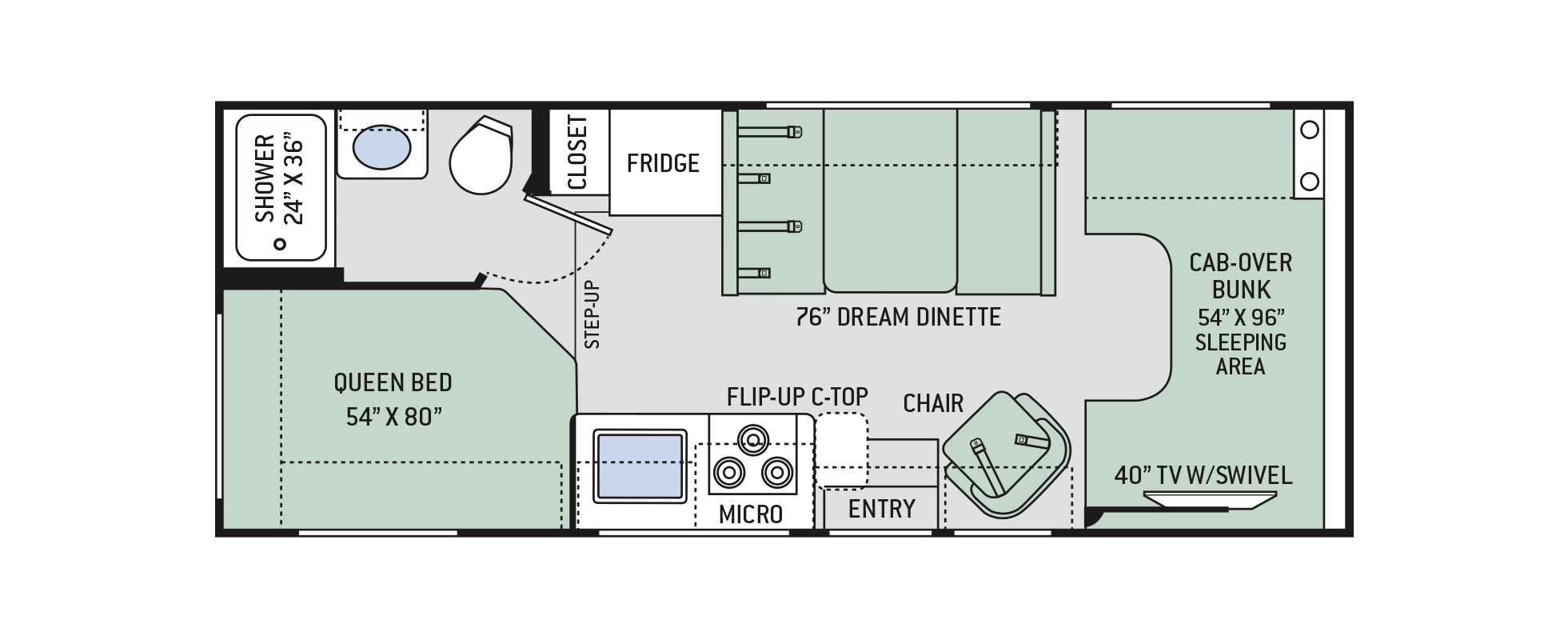 Freedom Elite Class C Motorhomes Floor Plan 23h Thor