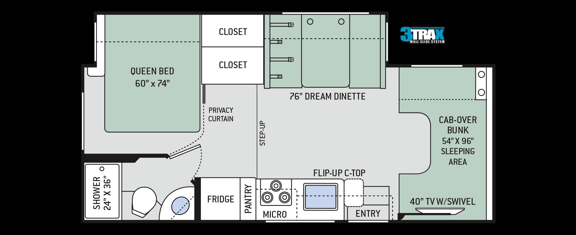 Freedom Elite Class C Motorhomes Floor Plan 24he Thor