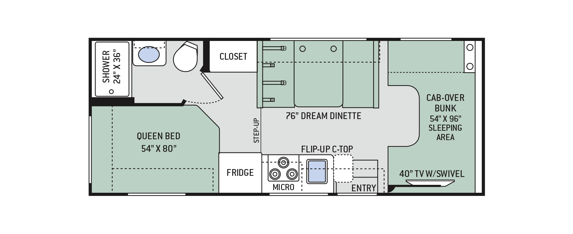 Freedom Elite Class C Motorhomes Floor Plan 22he Thor