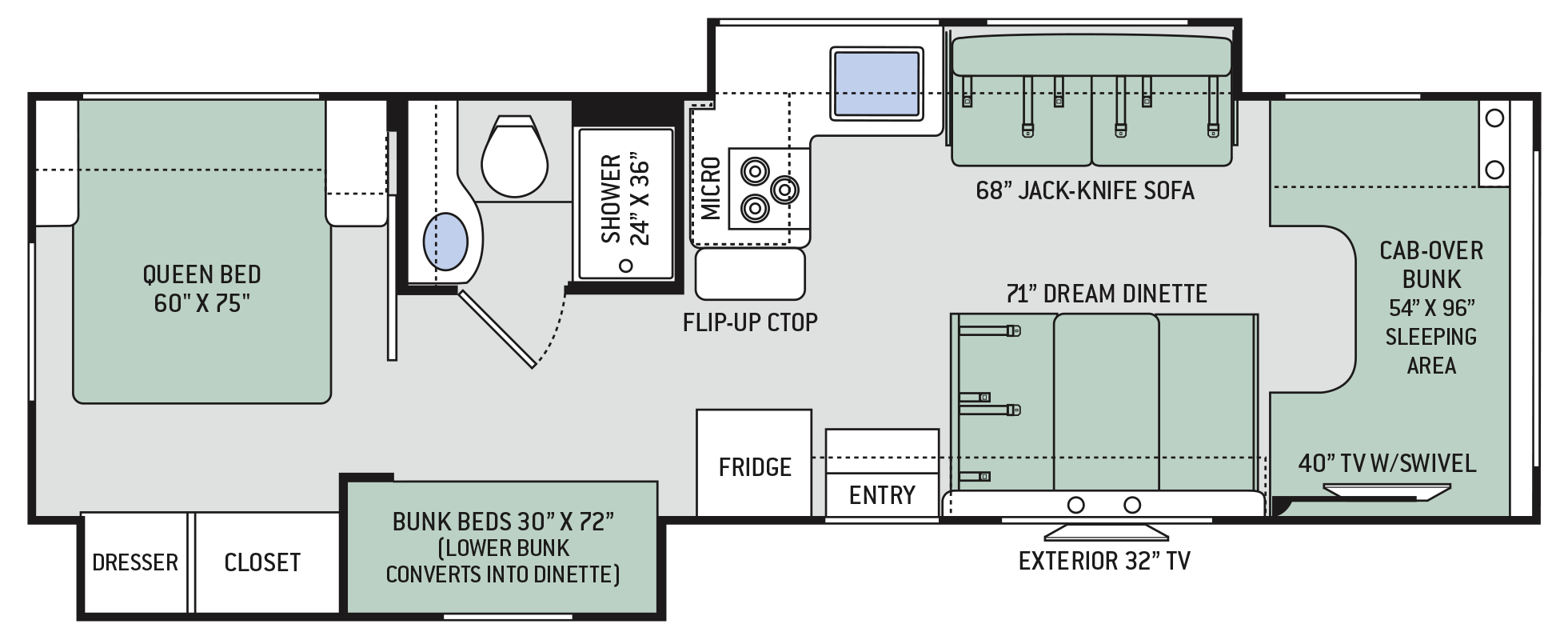 Freedom Elite Class C Motorhomes Floor Plan 30fe Thor Motor Coach Rv Wiring Schematics