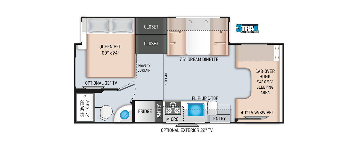 Four Winds Class C Motorhomes - Floor Plans | Thor Motor Coach