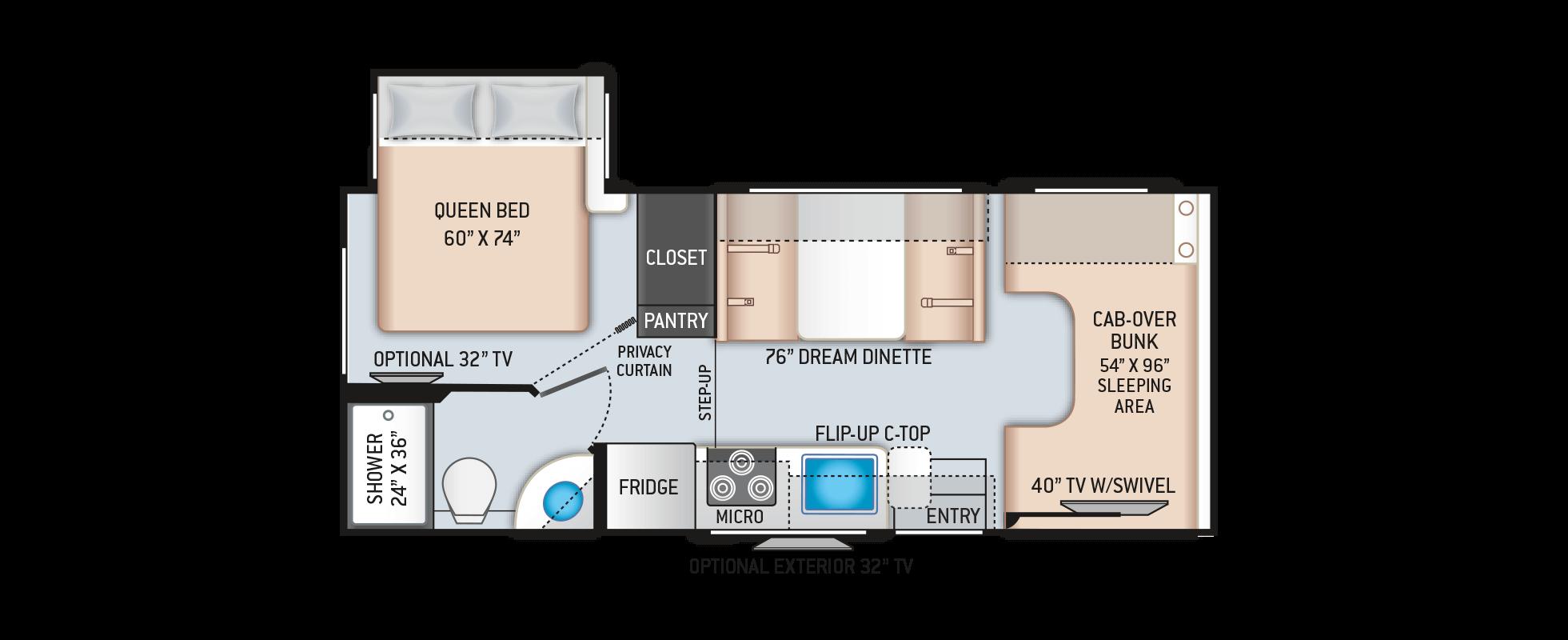 Ford X Plan Pricing >> Chateau Class C Motorhomes - Floor Plan: 22B | Thor Motor ...