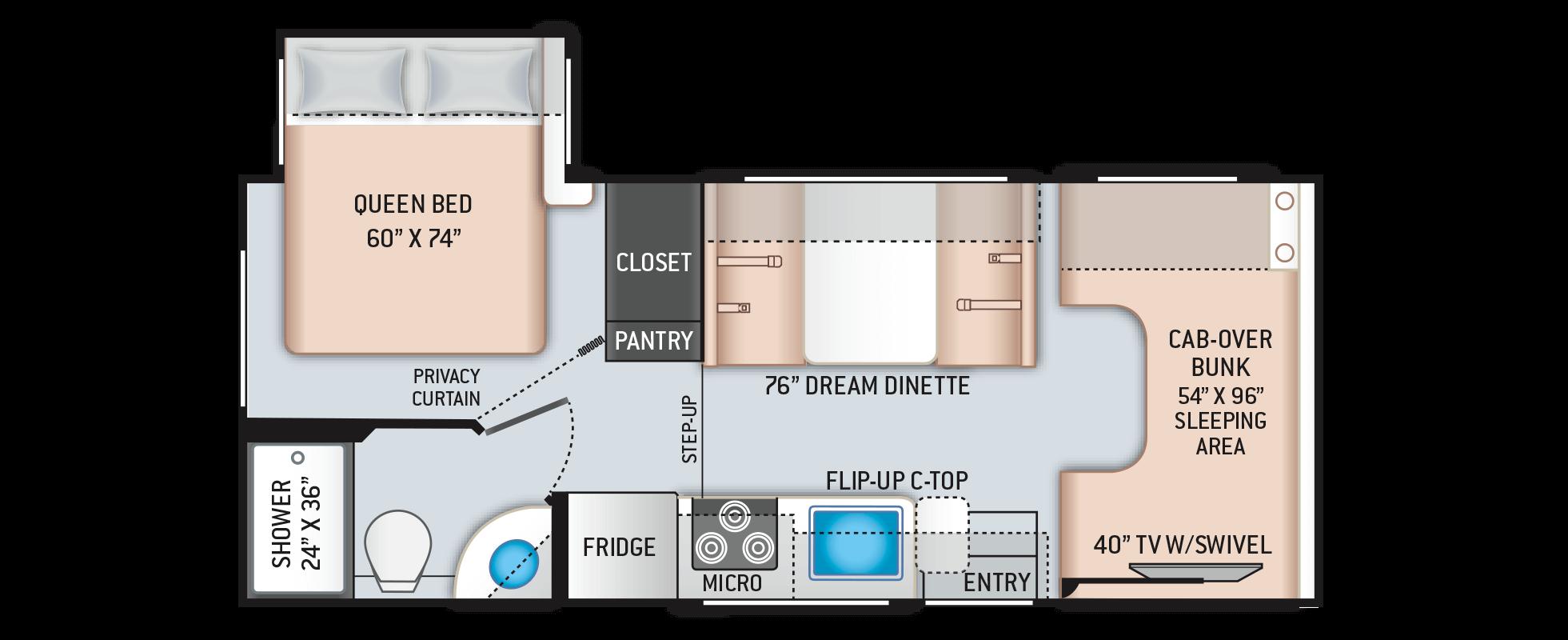 Freedom Elite Class C Motorhomes Floor Plan 22fe Thor