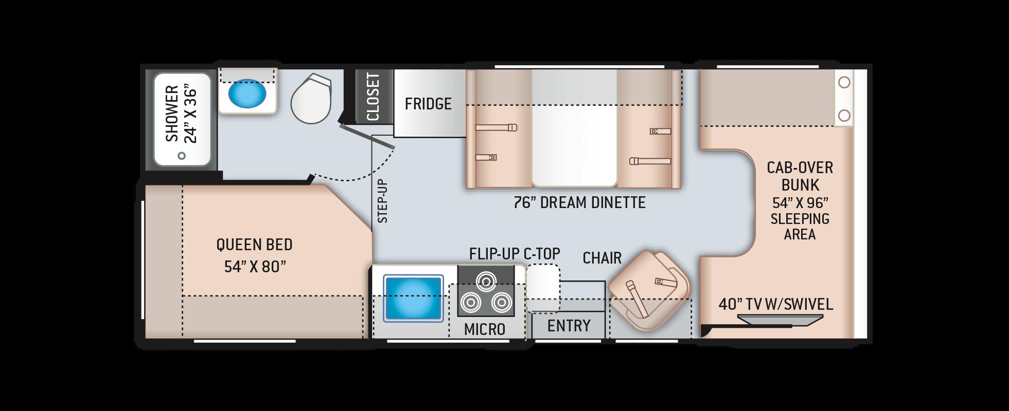 Freedom Elite Class C Motorhomes Floor Plan 23h Thor