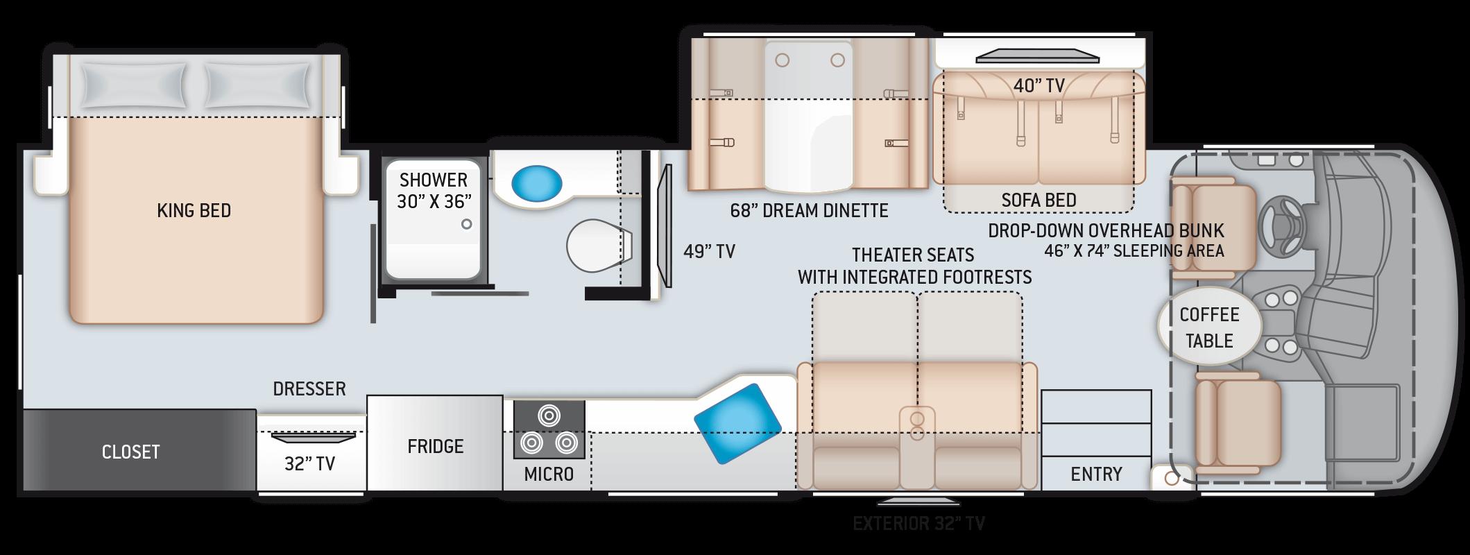 A C E Class A Motorhome 33 1 Floor Plan