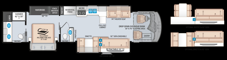 Venetian F42 Floor Plan by Thor Motor Coach