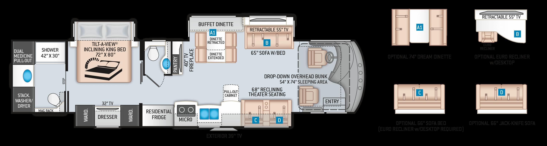 Venetian R40 Floor Plan by Thor Motor Coach