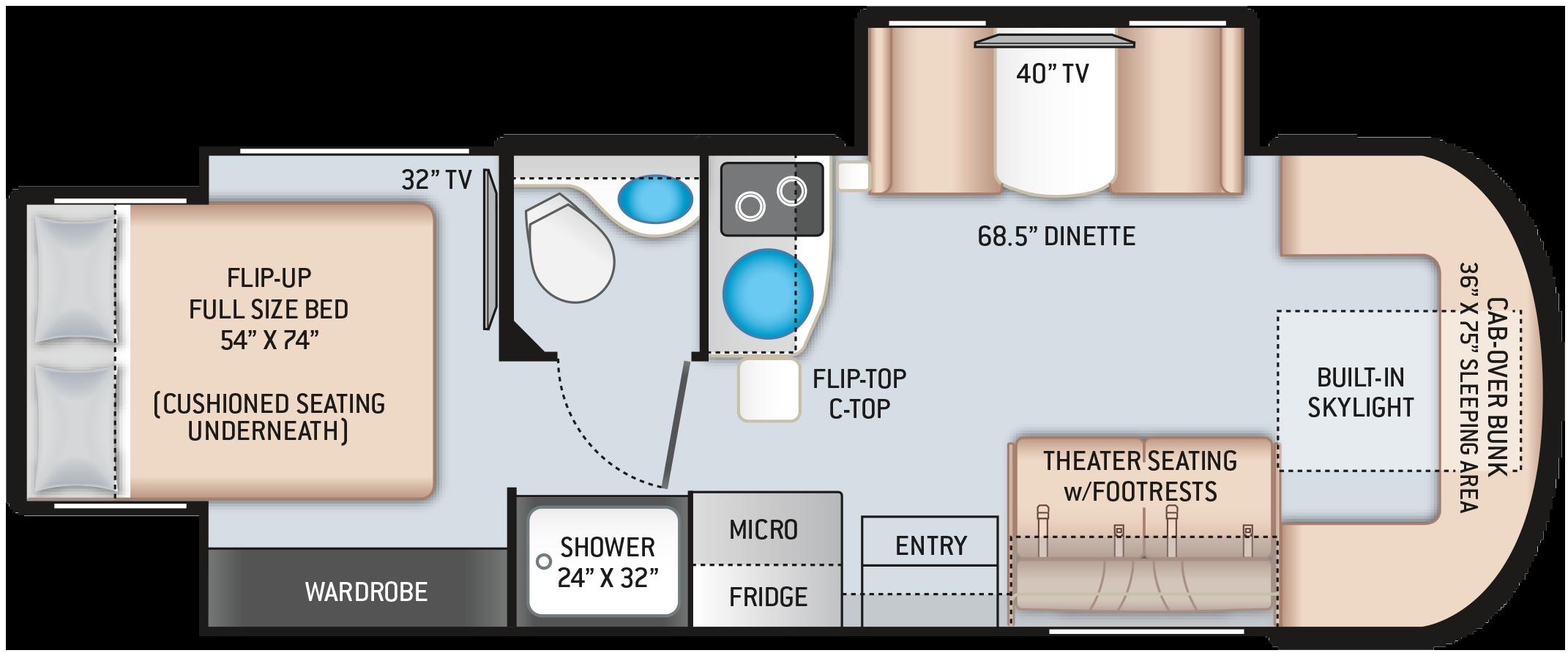 2021 Tiburon Sprinter 24RW Floor Plan