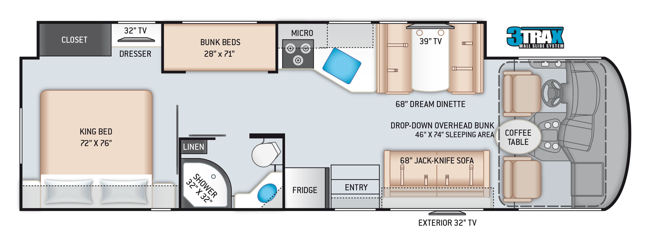 2021 A.C.E. Class A Motorhome 32.3 Floor Plan