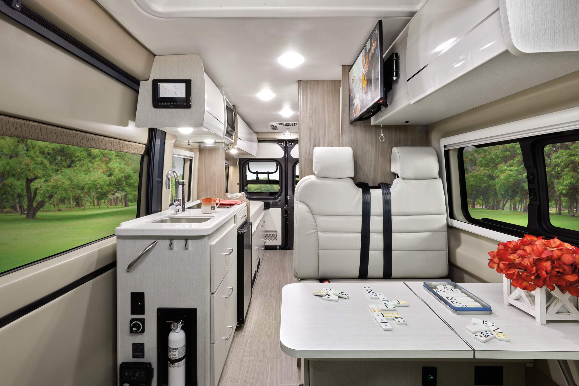 class b rv with pop top interior