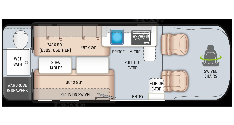 2021 Tellaro Camper Van 20LT Floor Plan