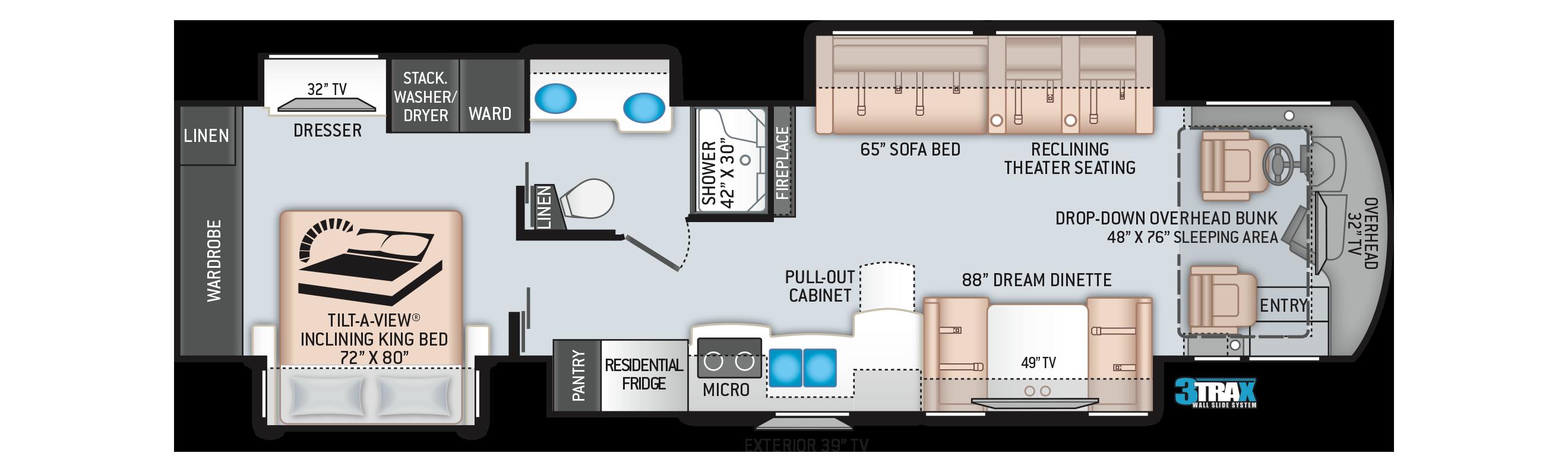 Aria Class A Diesel Motorhome 3902 Floor Plan