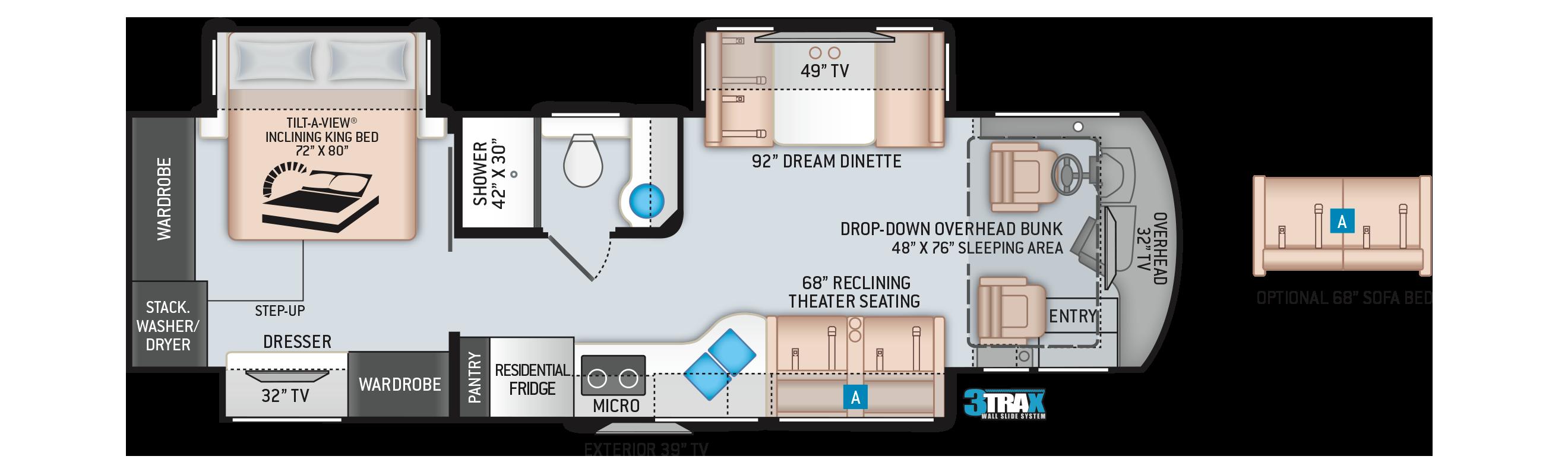Aria Class A Diesel Motorhome 3401 Floor Plan