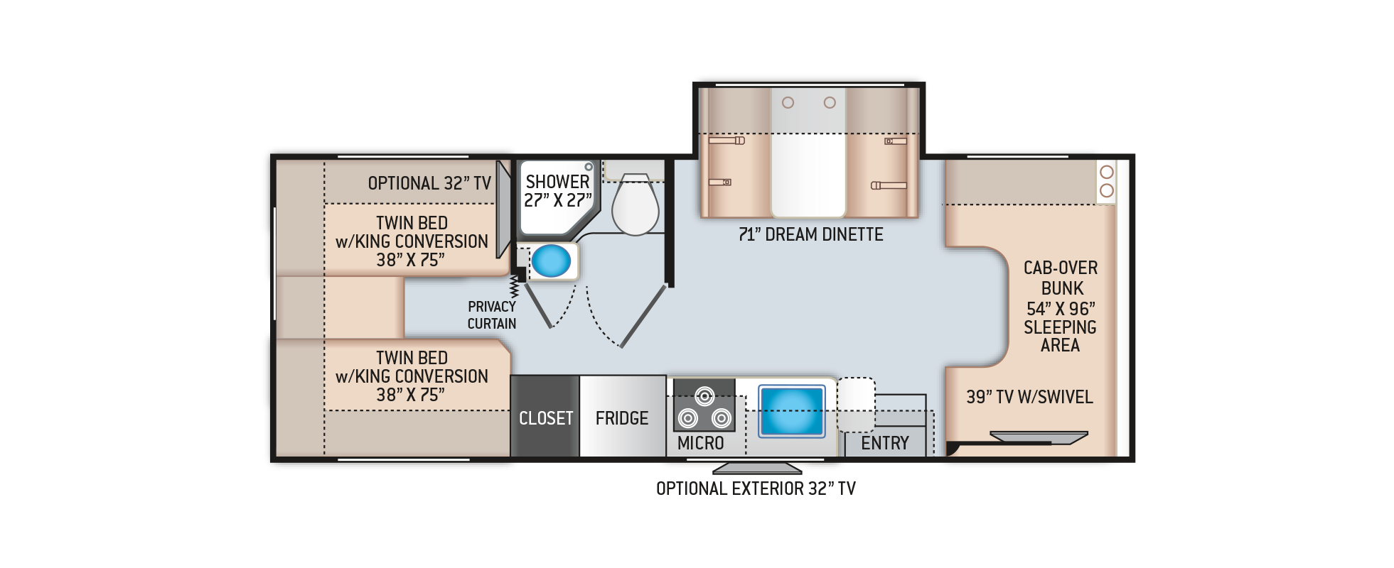 Chateau Class C Motorhome 25V Floor Plan