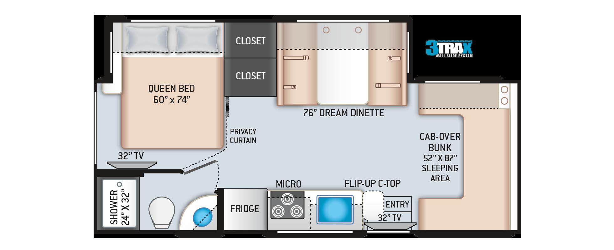 Daybreak Class C Motorhome 24GO Floor Plan