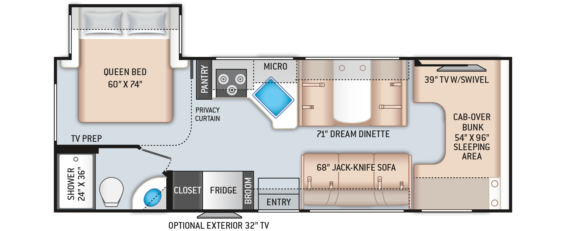 Daybreak Class C Motorhome 26DB Floor Plan