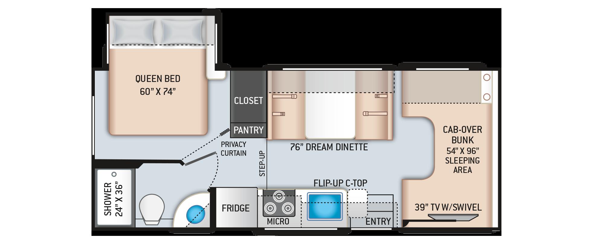 Daybreak Class C Motorhome 22DB Floor Plan