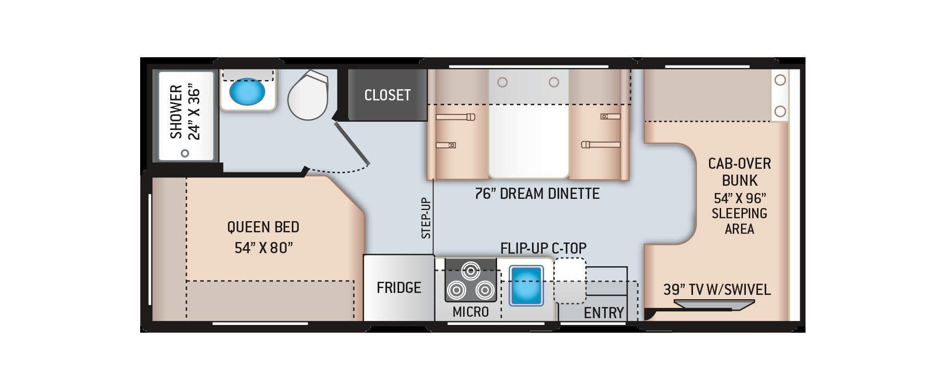 Daybreak Class C Motorhome 22GO Floor Plan