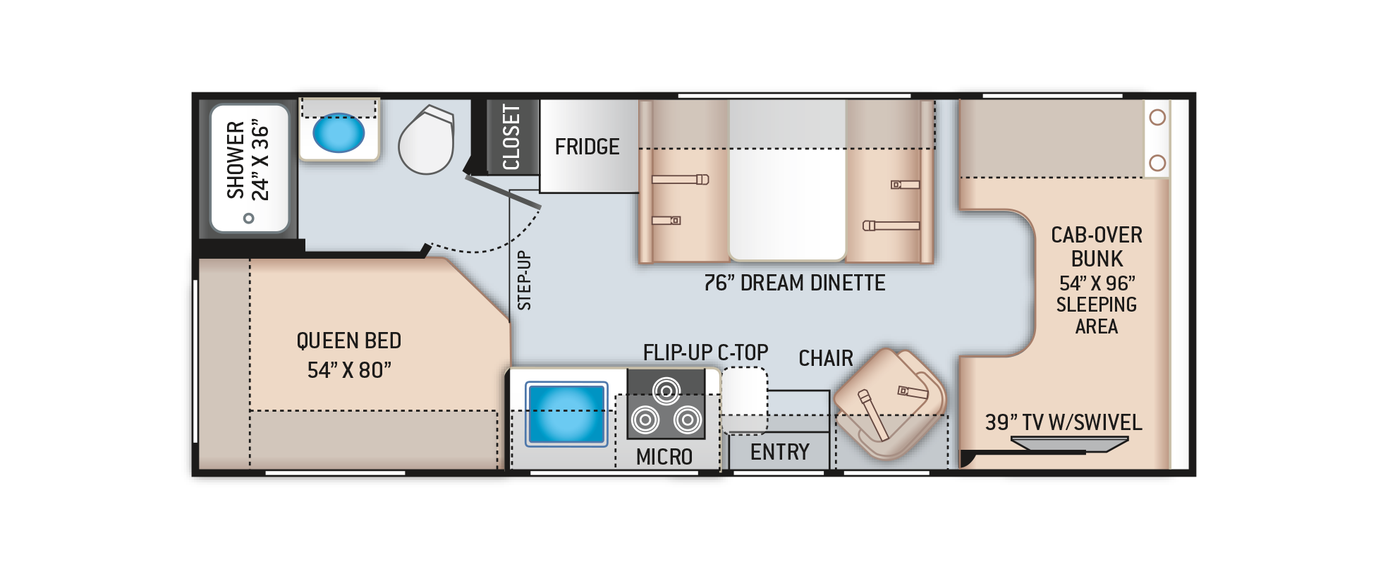 Daybreak Class C Motorhome 23DB Floor Plan