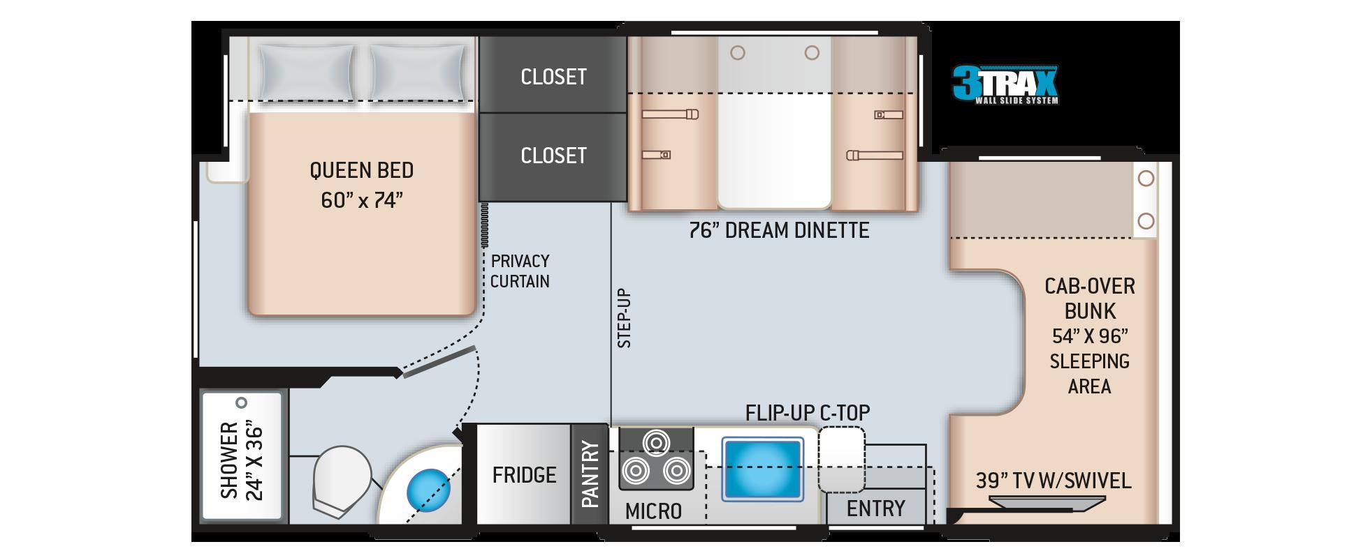 Daybreak Class C Motorhome 24DB Floor Plan