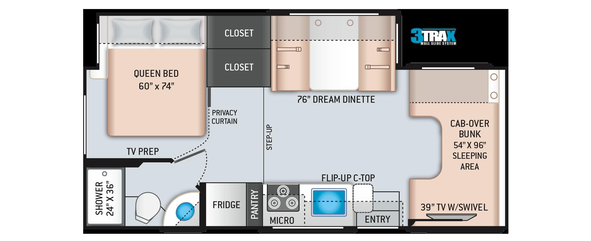 Freedom Elite Class C RV 24HE Floor Plan