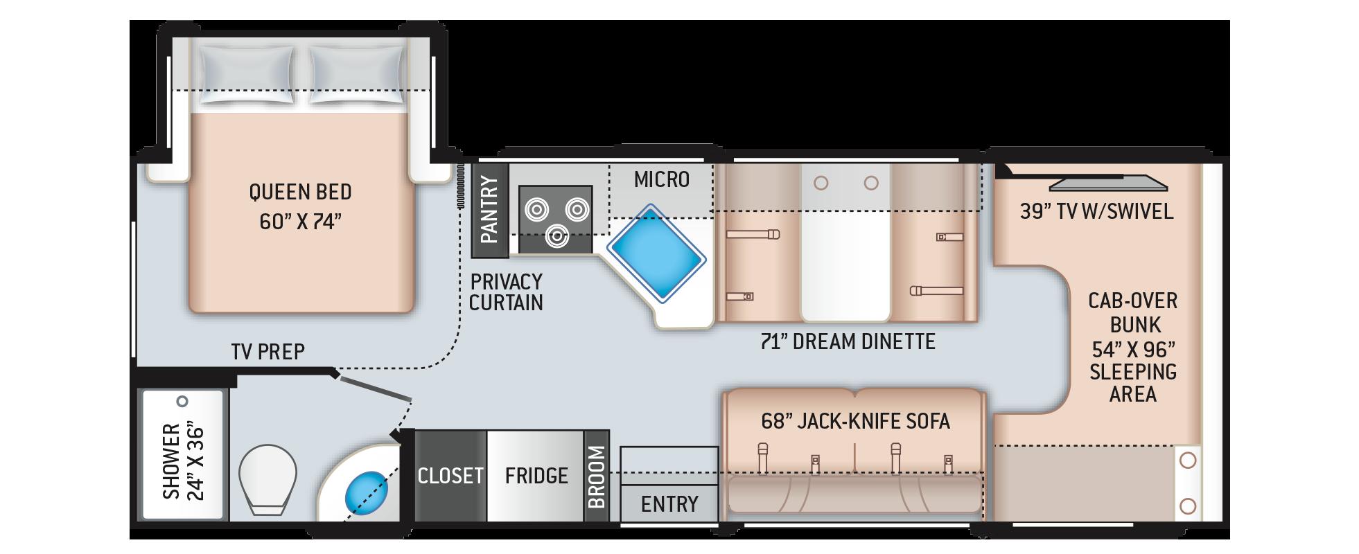Freedom Elite Class C RV 26HE Floor Plan