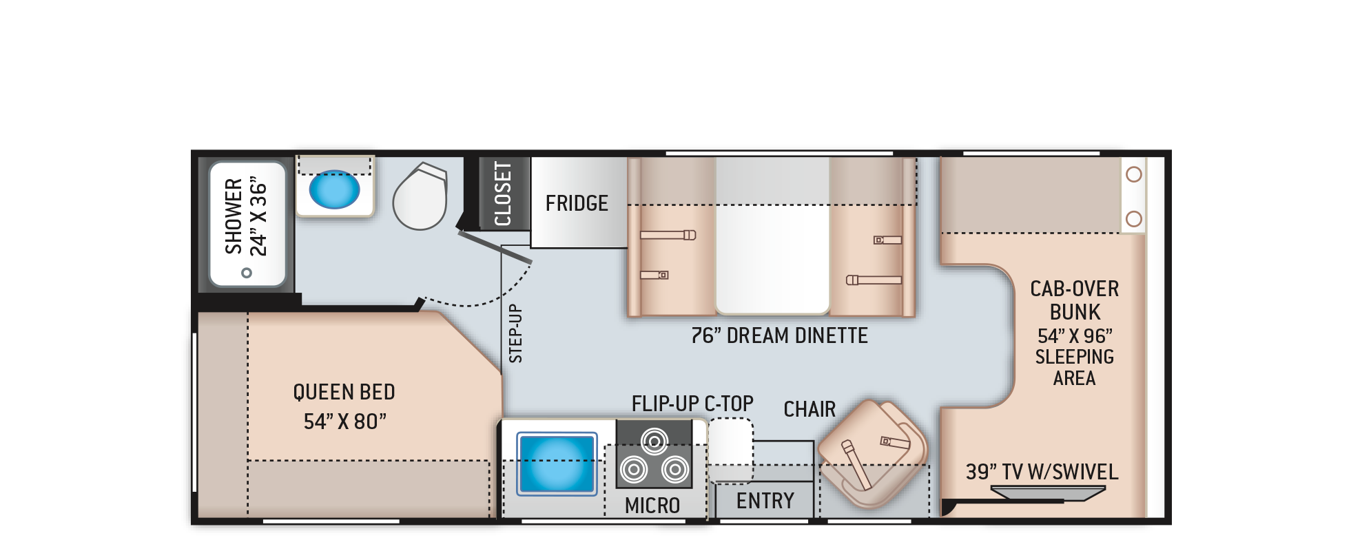 Freedom Elite Class C RV 23H Floor Plan