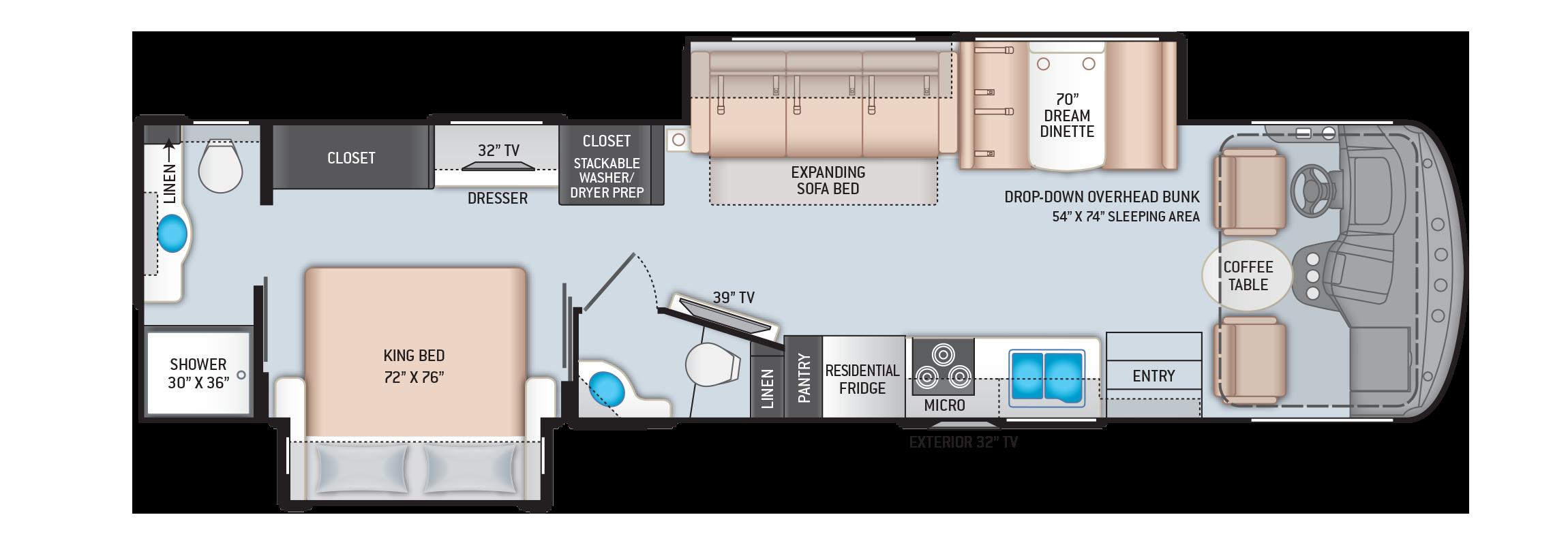 Hurricane Class A Motorhome Floor Plan 35M