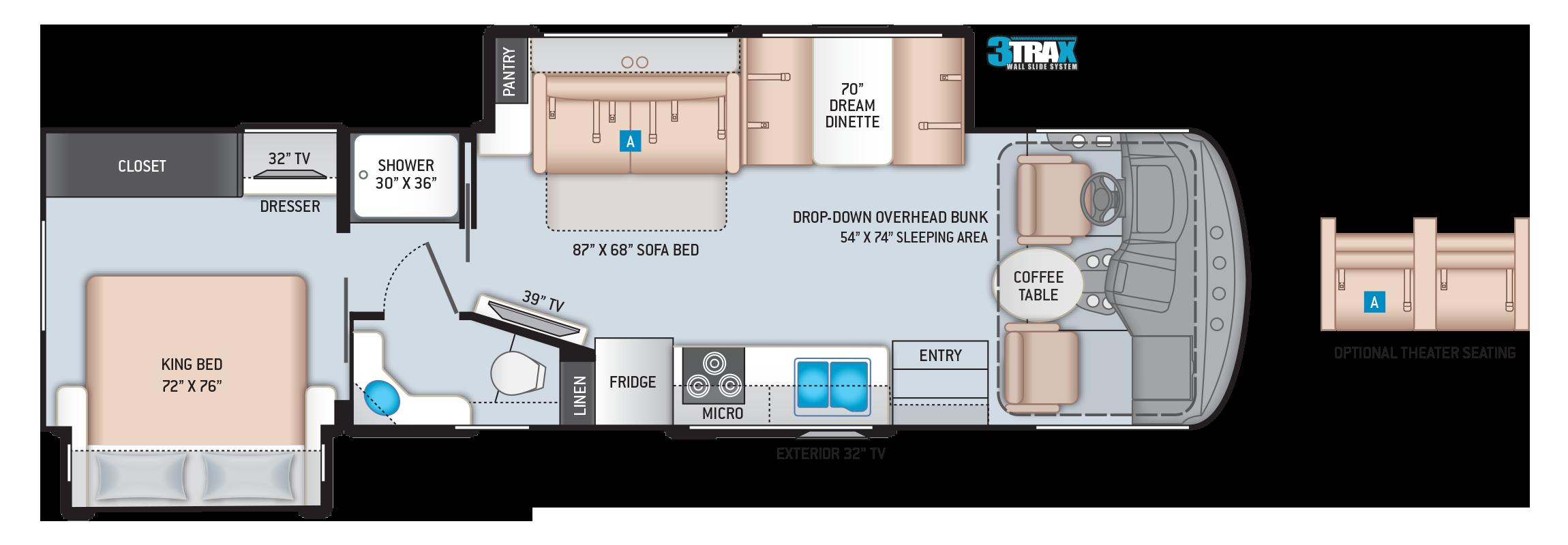 Hurricane Class A Motorhome Floor Plan 32T