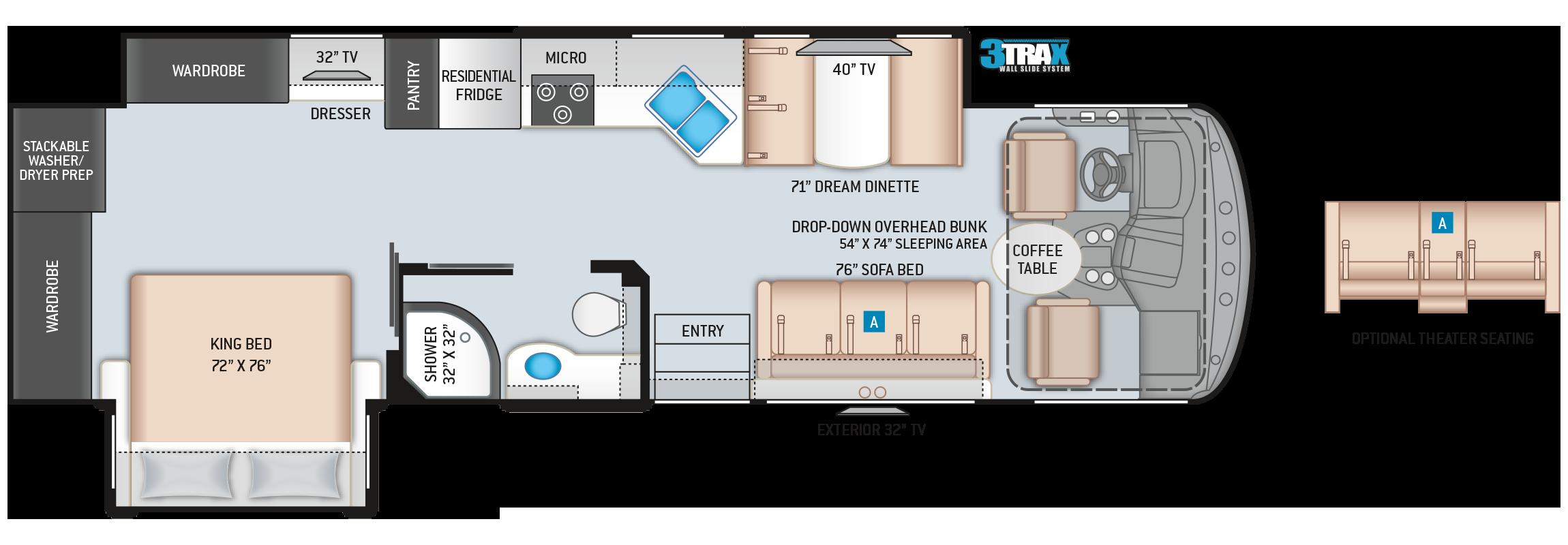 Hurricane Class A Motorhome Floor Plan 33X