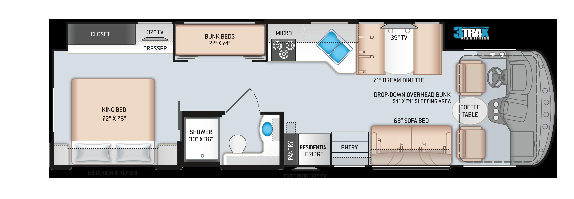 Windsport Class A Motorhome Floor Plan 34J