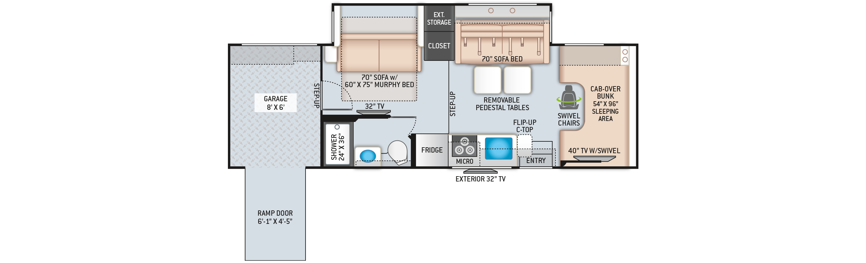 Outlaw Class C Toy Hauler RV Floor Plan 29S