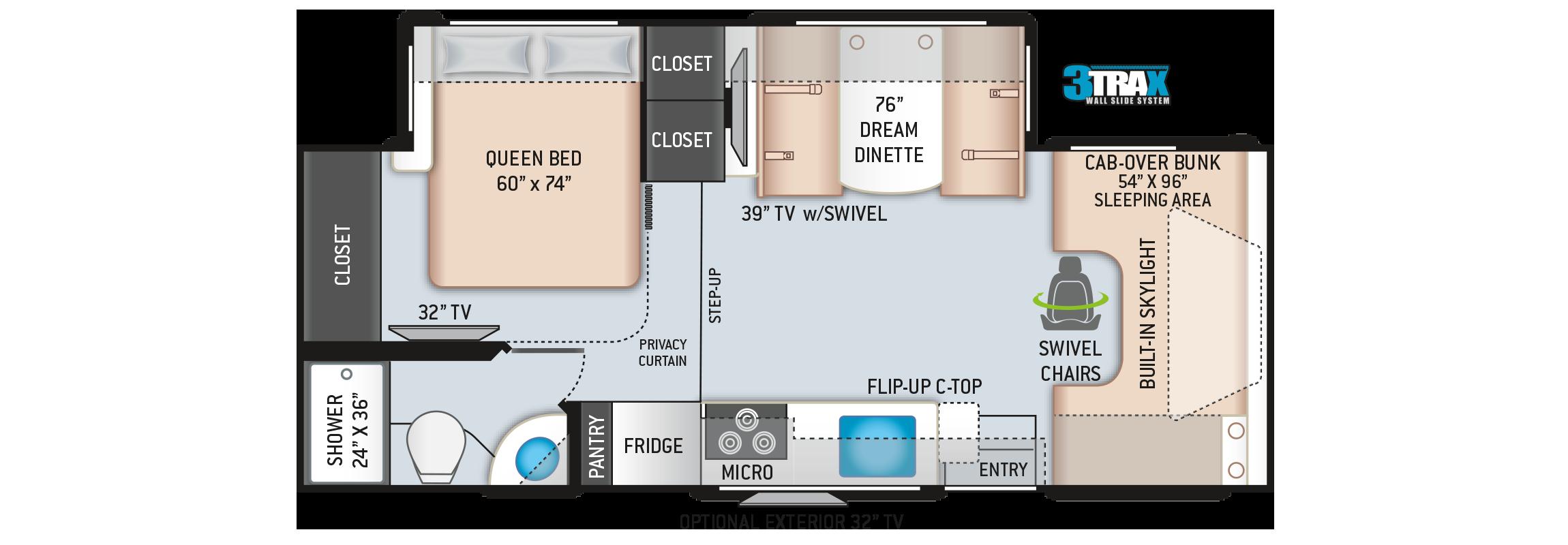 Quantum Class C RV Floor Plan RC25