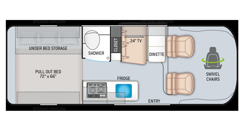 Tellaro Class B RV Floor Plan 20AT