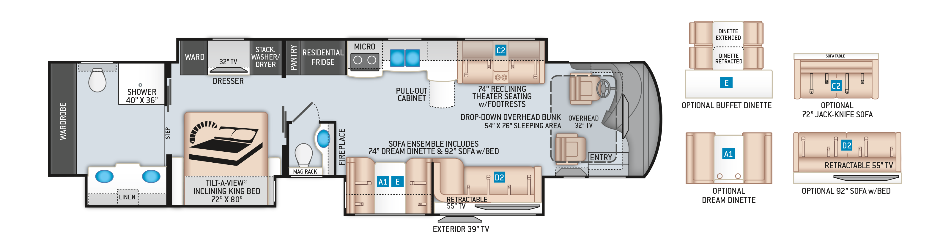 Tuscany Class A Diesel Pusher Floor Plan 45X