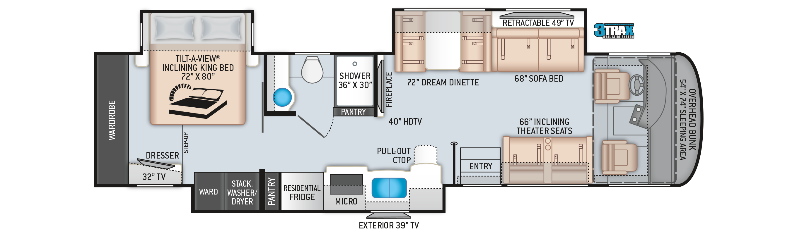Palazzo Class A Diesel Pusher Motorhome 37.4 Floor Plan