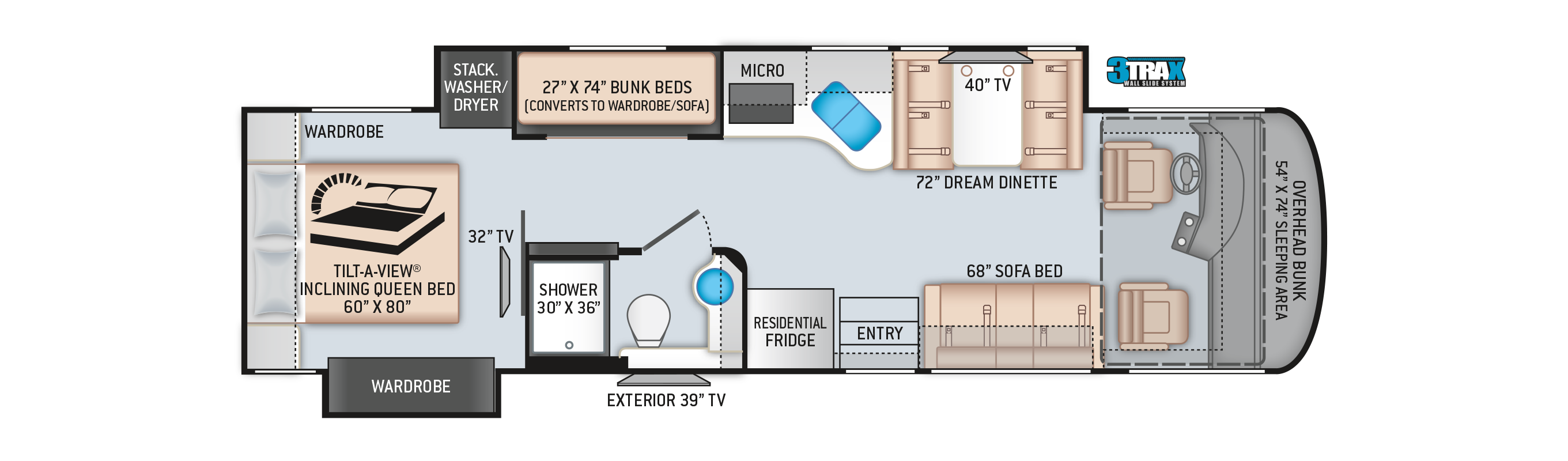 Palazzo Class A Diesel Pusher Motorhome 33.5 Floor Plan