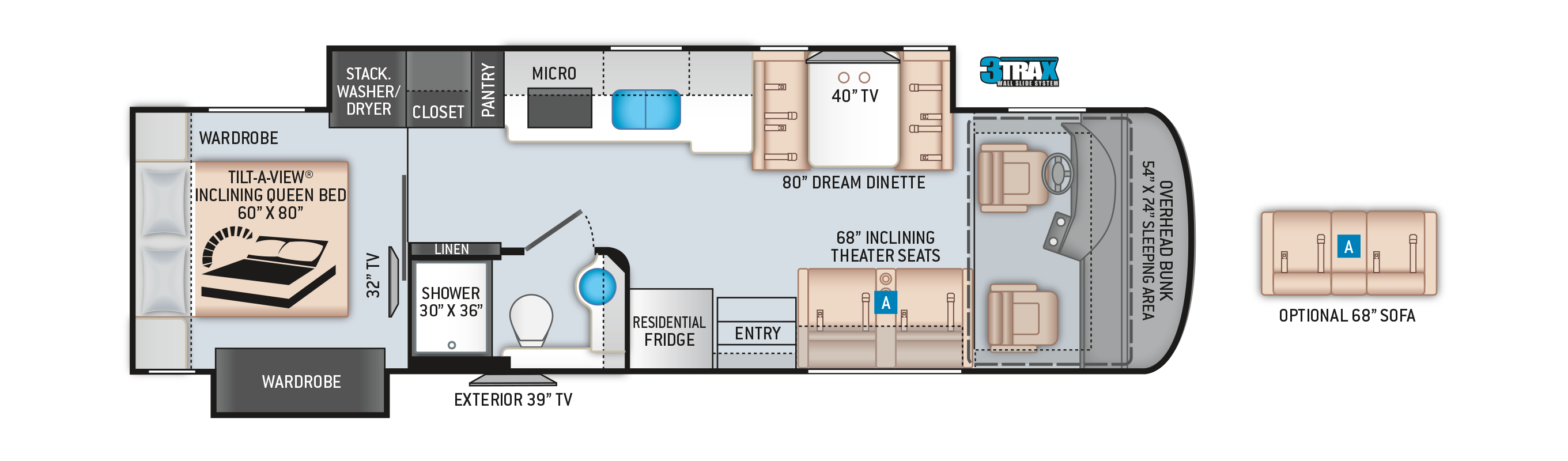 Palazzo Class A Diesel Pusher Motorhome 33.6 Floor Plan