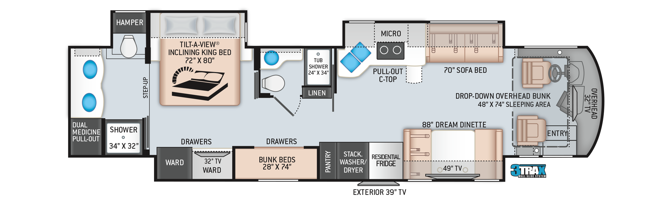 Aria Class A Diesel Pusher Motorhome 4000 Floor Plan