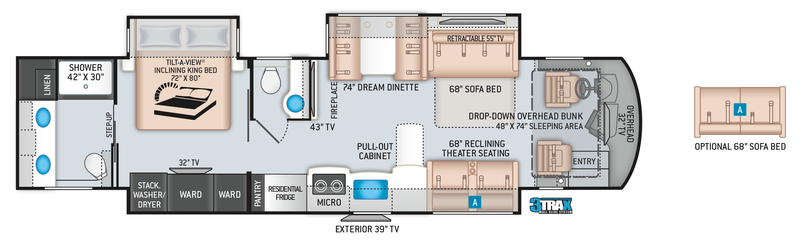 Aria Class A Diesel Pusher Motorhome 3901 Floor Plan
