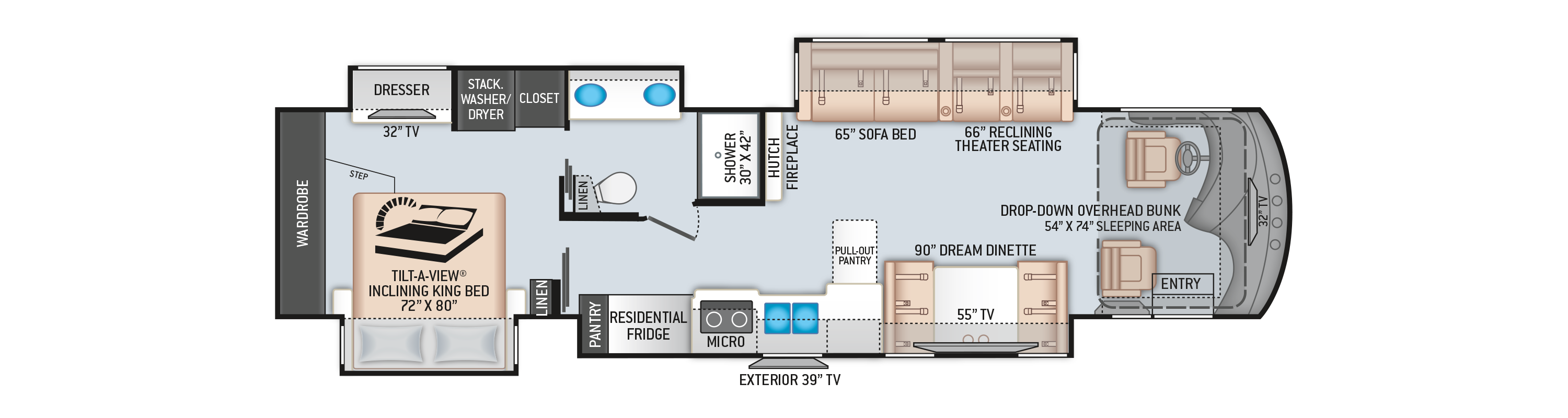 Venetian Class A Diesel Pusher Motorhome L40 Floor Plan