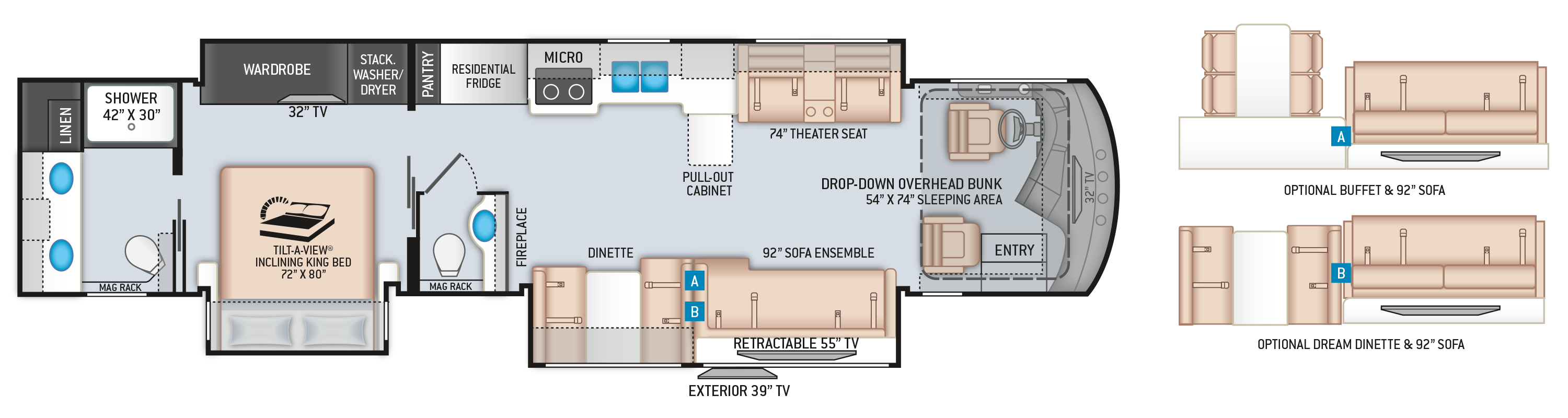 Venetian Class A Diesel Pusher Motorhome F42 Floor Plan