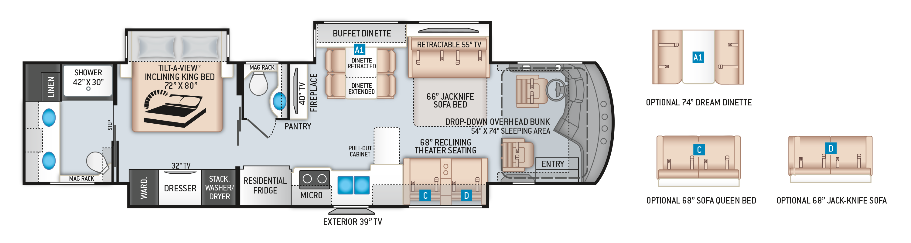 Venetian Class A Diesel Pusher Motorhome R40 Floor Plan