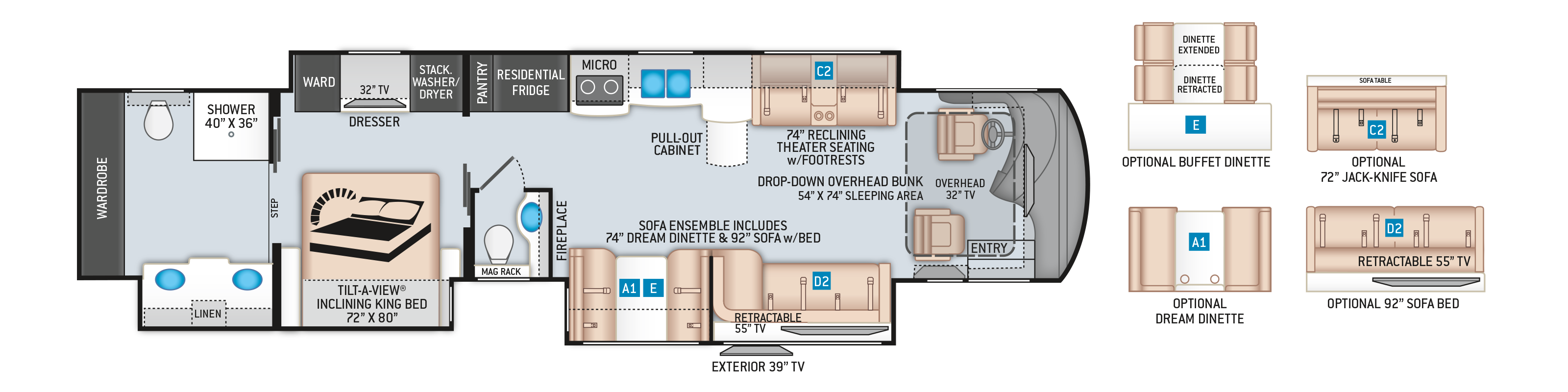Tuscany Class A Diesel Pusher Motorhome 45MX Floor Plan