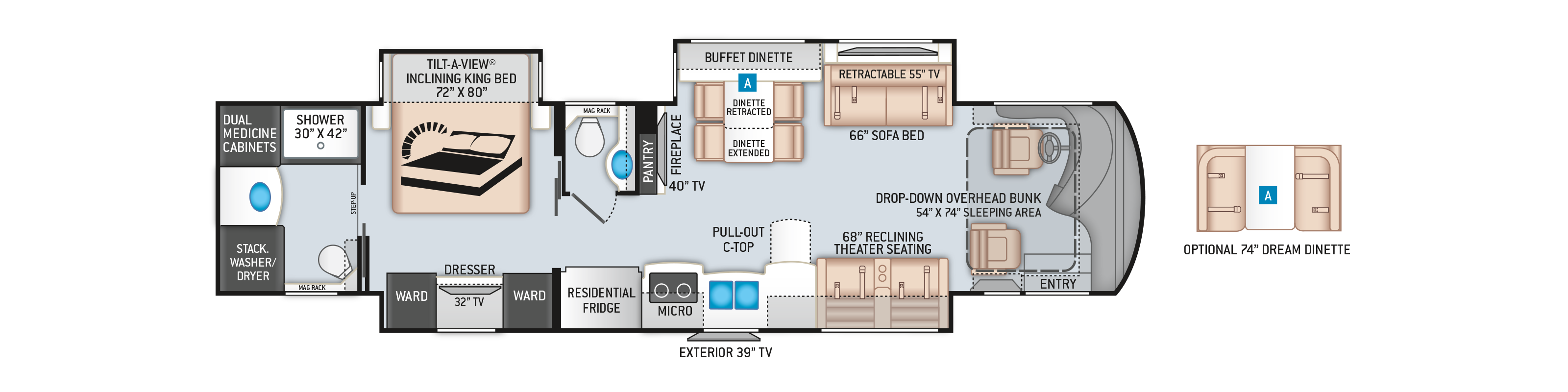 Tuscany Class A Diesel Pusher Motorhome 40RT Floor Plan