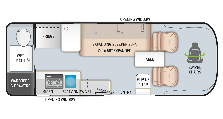 Tellaro Class B RV 20KT Floor Plan