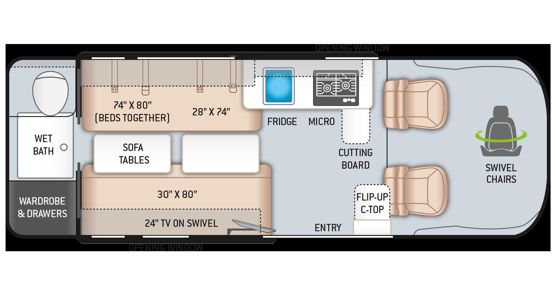 Tellaro Class B RV 20LT Floor Plan