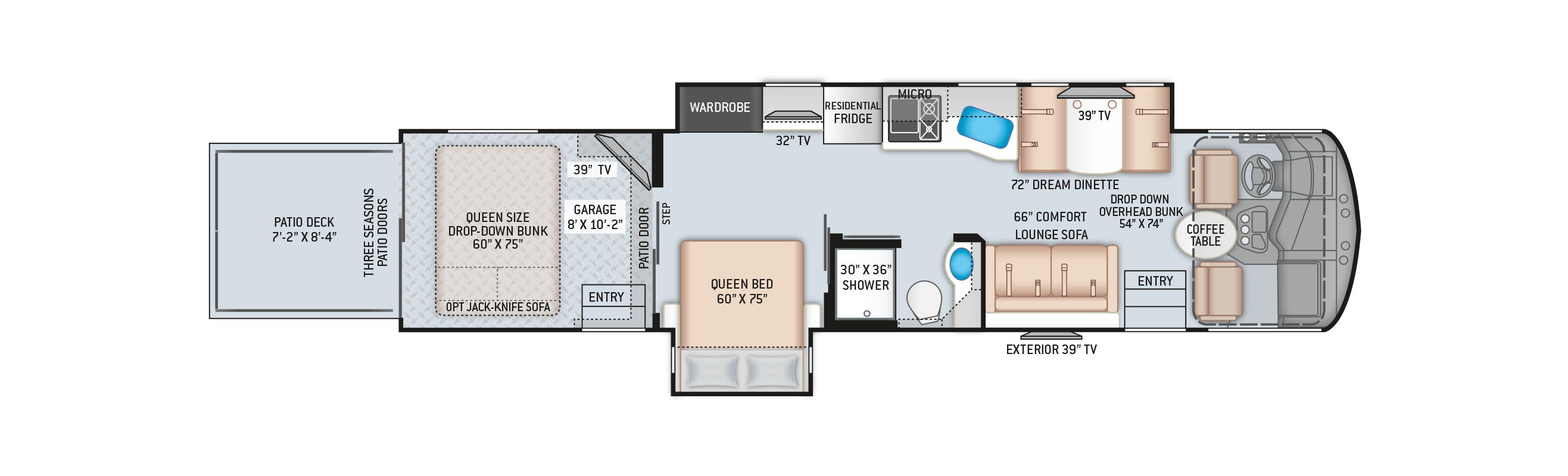 Outlaw Class A Toy Hauler RV 38MB Floor Plan
