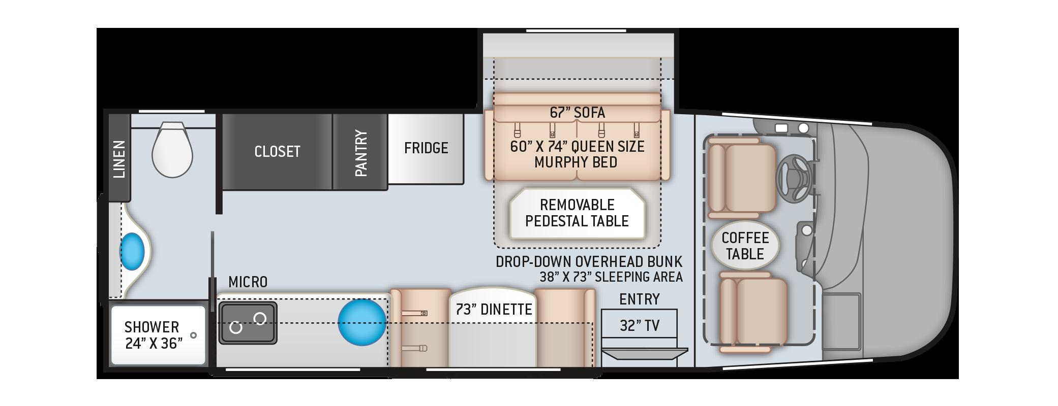 Vegas RUV Class A Motorhome 24.3 Floor Plan